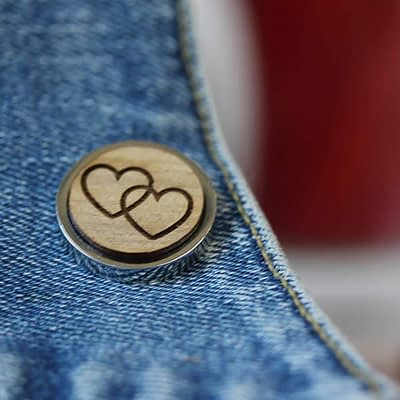 linked hearts valentines pin